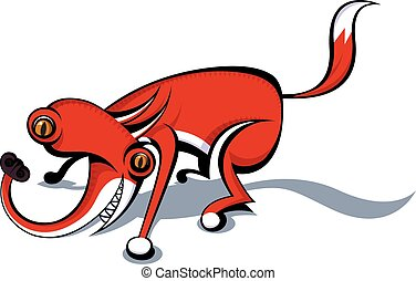totalmente, loco, fox., vector, imagen,