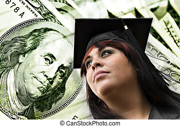 College Tuition Expenses - A closeup of a female graduate in...