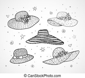 Set of five summer hats