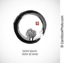 Tree in black enso zen circle on white background....