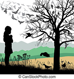 Girl admires the birds - Illustrations child looks at a tree...
