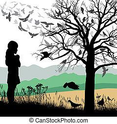 Girl admires the birds