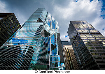 Modern buildings in the Financial District of Toronto, Ontario.