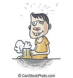 Happy man holding a glass of beer