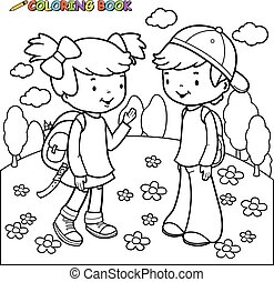 coloring book girl and boy students