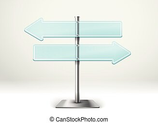 Blank metal glass arrow boards. Template for a text