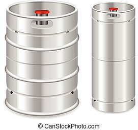 Beer keg set on a white background