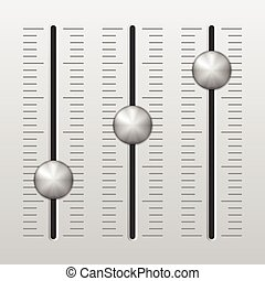 Mixing console - Sound mixing console on grey background