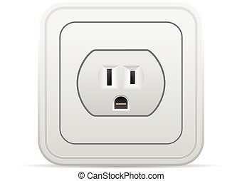 Power outlet on a white background
