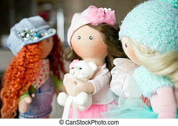 rag doll textile handmade with natural hair - Three rag doll...