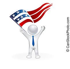 USA Flag and 3D man image