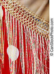 flamenco dress - close up of a red flamenco dress with a...