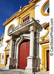 Seville bullring - facade of Real Maestranza de Caballeria...
