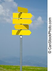 Blank Direction Signs - Blank direction signs against clear...
