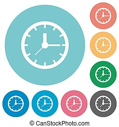 Flat clock icons - Flat clock icon set on round color...