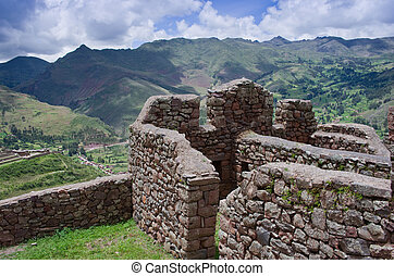 Pisac - Inca ruins in the sacred valley in the Peruvian...