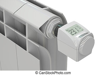 heating radiator with digital radiator thermostatic valve,...