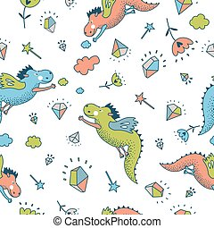 vector seamless pattern with dragon, diamond, flowers. -...