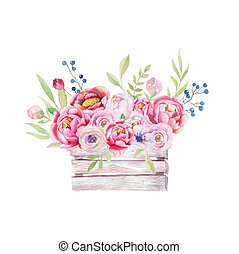 Watercolor flowers wooden box. Hand-drawn chic vintage...