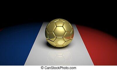 3D, interpretación, futbol, Pelota, en, francia,...