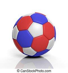 3D, interpretación, futbol, Pelota, en, blanco, Plano...
