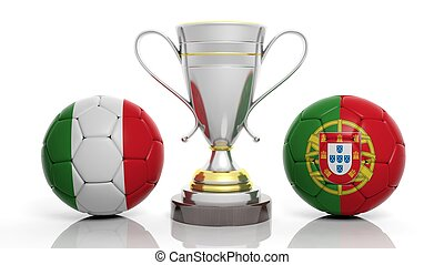 3d rendering of a Golden Silver trophy and soccer ball