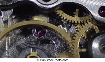 Clock Mechanism Works Macro Old clock, vintage Working...