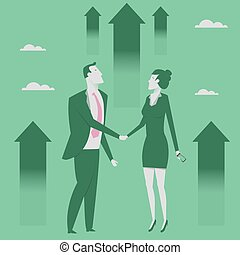 Business partnership concept vector illustration. Businessman and woman shaking hands. Reaching goal. Growth to success