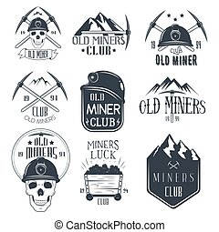 Vector set of mining labels in vintage style. Gold miners...
