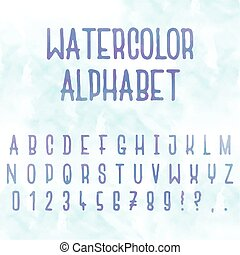 Vector watercolor. Abstract alphabet. Letters with blue background. Hand drawn font