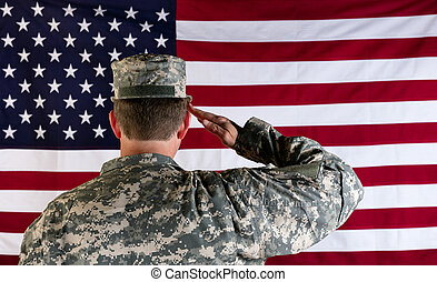 Veteran male solider saluting the flag of USA - Male Veteran...