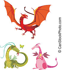 dragon set - vector illustration of a dragon set