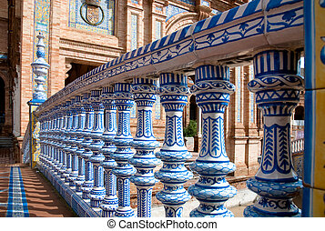 Plaza de Espana, Seville - Columns, detail of a bridge in...
