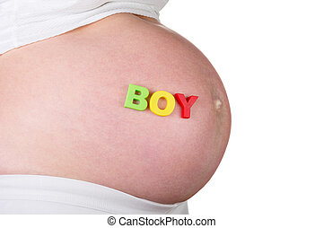 Belly of pregnant young boy with sign isolated on white -...