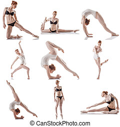 Dance Collage of flexible woman posing at camera - Dance...