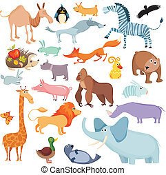 big animal set - vector illustration of a big animal set