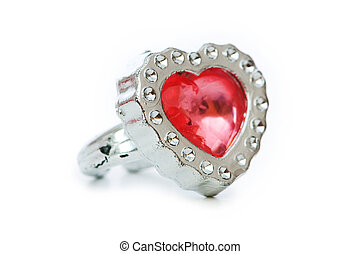 Heart shaped ring isolated on the white background