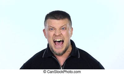 Angry man screaming White Slow motion - Angry man...
