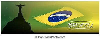 Country banner - Colored banner with text, the brazilian...