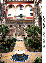 Andalusian patio - Typical andalusian house interior in...