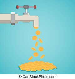 Golden coins fall out of the tap.