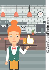 Waitress with like button. - A waitress carrying a tray with...