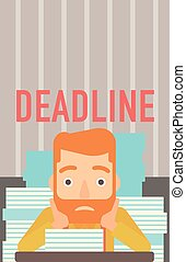 Man having problem with deadline - A scared hipster man with...