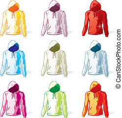 isolated hoodies set - fully editable vector illustration of...