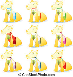 dogs in pet clothing set - fully editable vector...