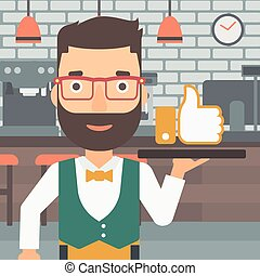Waiter with like button - A hipster waiter with the beard...