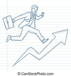 Man running on arrow going upwards.