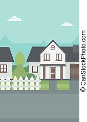 Background of suburban house with fence.