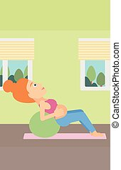 Pregnant woman on gymnastic ball - A pregnant woman doing...