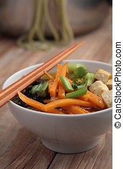 Green tea noodle soup with vegetables